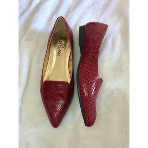 Bellini Red Crocodile Embossed Flats
